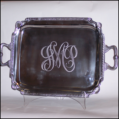 Large Engraved Silver Plated Tray